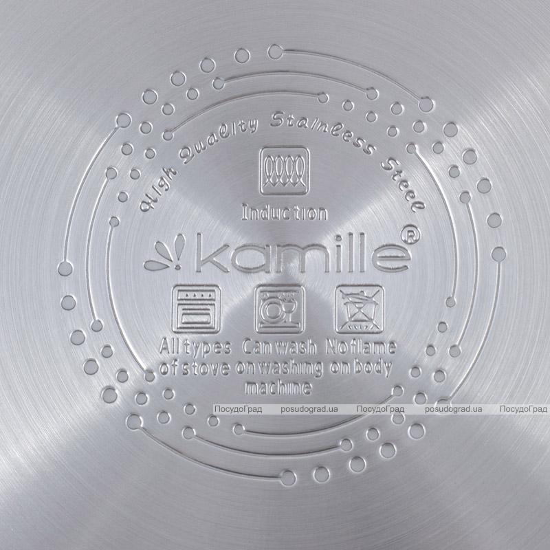 Каструля індукційна Kamille Casserote 4.4л з нержавіючої сталі зі скляною кришкою