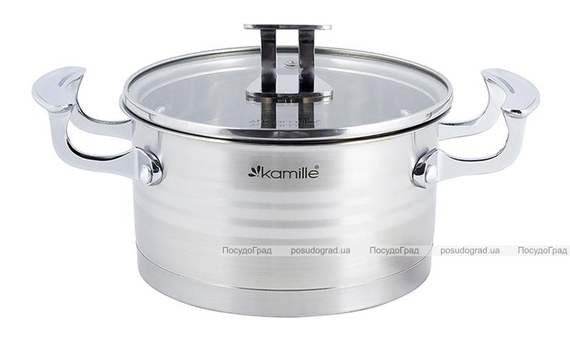 Каструля індукційна Kamille Casserote 2.4л з нержавіючої сталі зі скляною кришкою