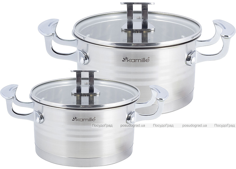 Набір 2 каструлі Kamille Casserote 1.5л і 2.4л з нержавіючої сталі зі скляними кришками