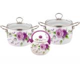 Набор эмалированной посуды Kamille Bloom Rose 2 кастрюли и чайник
