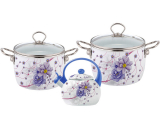 Набор эмалированной посуды Kamille Bloom Tinkerbelle 2 кастрюли и чайник