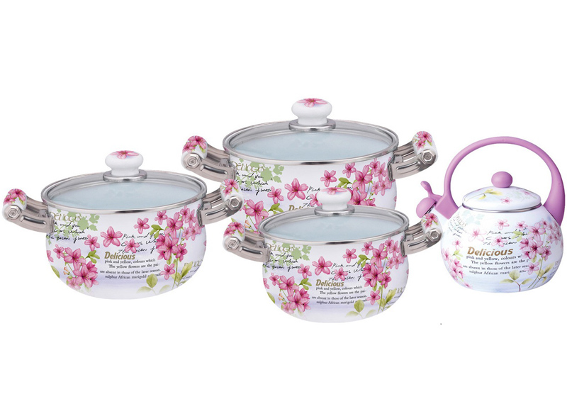 Набор эмалированной посуды Kamille Bloom Pink Flower 3 кастрюли и чайник