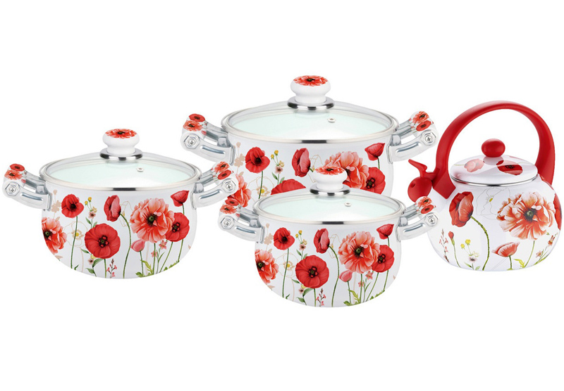 Набор эмалированной посуды Kamille Bloom Poppy 3 кастрюли и чайник