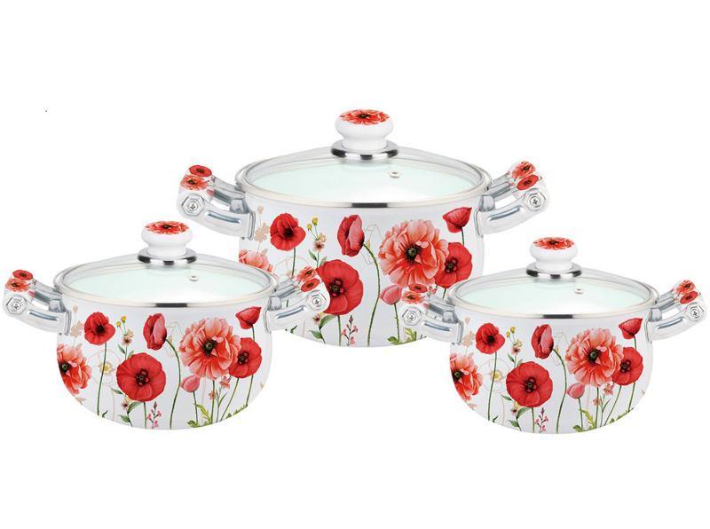Набор эмалированных кастрюль Kamille Bloom Poppy 3 кастрюли