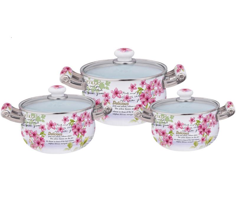 Набор эмалированных кастрюль Kamille Bloom Pink Flower 3 кастрюли