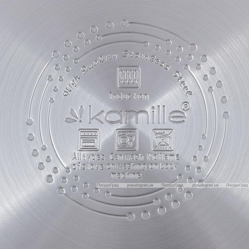 Набор 3 кастрюли Kamille Fine Silver Pen 2.1л, 3.7л и 6.1л из нержавеющей стали со стеклянными крышками