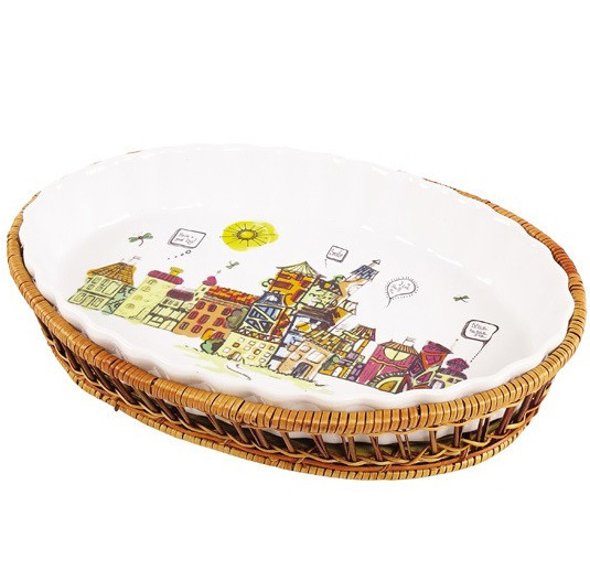 Форма для выпечки 2,1л (блюдо сервировочное) Kamille City овальное в плетенной корзине