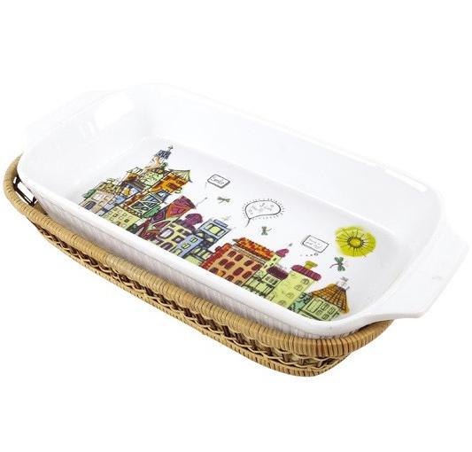 Форма для выпечки 2,4л (блюдо сервировочное) Kamille City прямоугольное в плетенной корзине