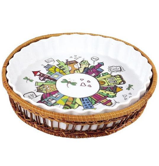 Форма для выпечки 2,1л (блюдо сервировочное) Kamille City круглое в плетенной корзине