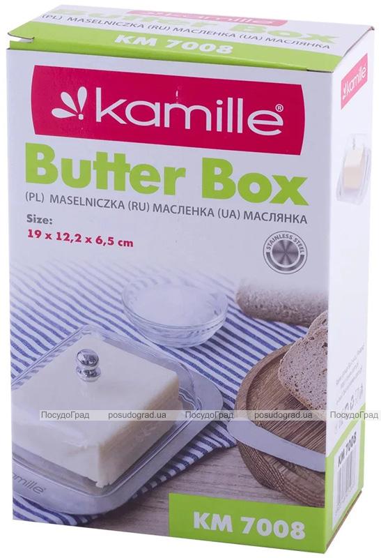Масленка Kamille Perlett из нержавеющей стали с акриловой крышкой 18.5х12.5х6.5cм