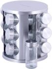 Набір для спецій Kamille Mirele Silver 12 ємностей на сталевій круглій підставці