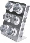 Набір для спецій Kamille Mirele Silver 6 ємностей на сталевій підставці