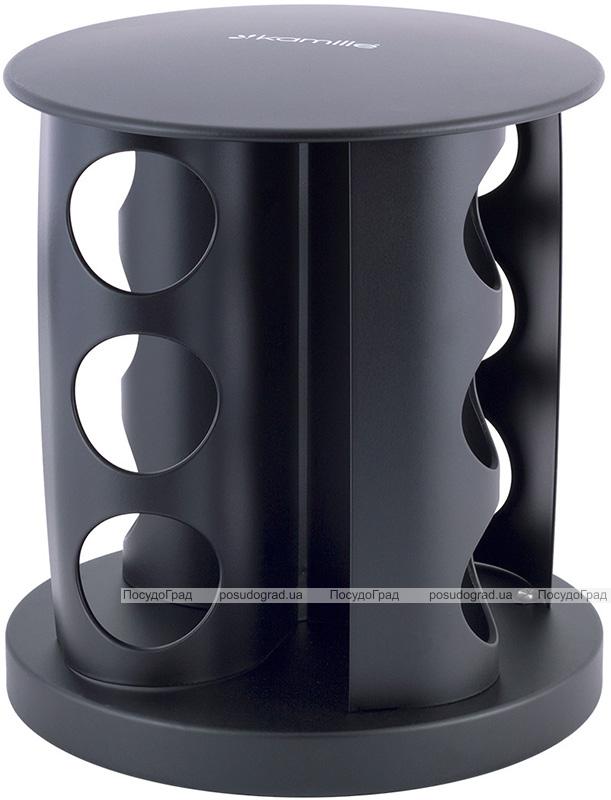 Набор емкостей для специй Kamille Spice Rak Black 12 спецовников на круглой подставке