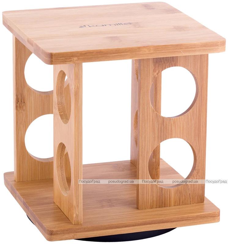 Набір для спецій Kamille Mirele 8 ємностей на бамбуковій підставці