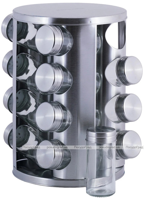 Набор для специй Kamille Mirele Silver 16 емкостей на стальной круглой подставке