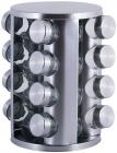 Набір для спецій Kamille Mirele Silver 16 ємностей на сталевій круглій підставці