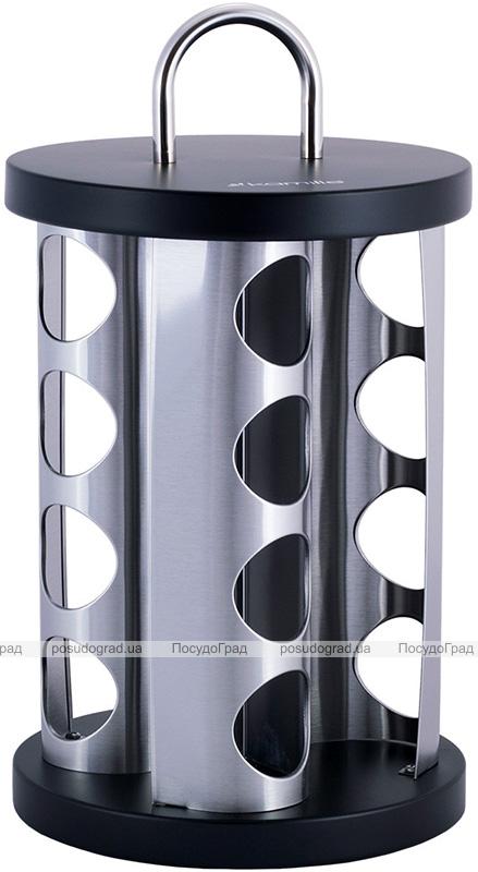 Набор емкостей для специй Kamille Spice Silver 16 спецовников на круглой подставке 28х19х19см