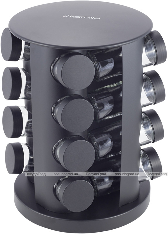 Набір ємностей для спецій Kamille Spice Rak Black 16 спецовників на круглій підставці