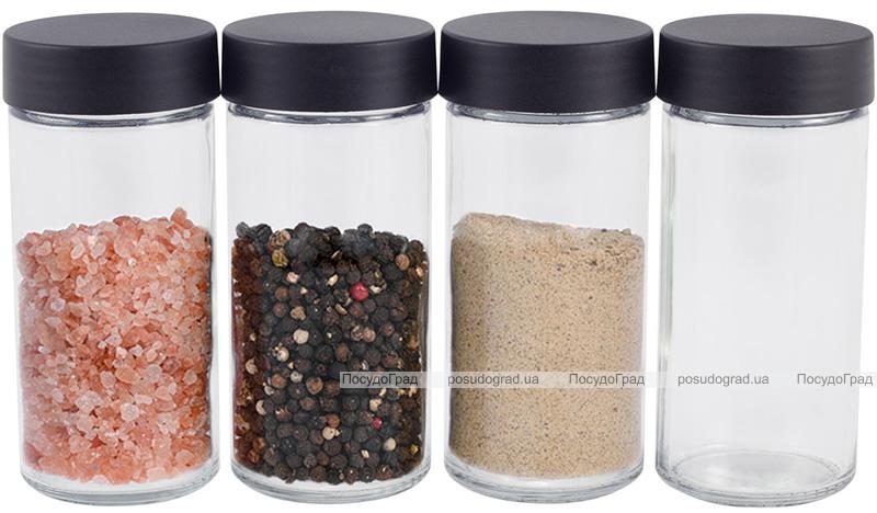 Набор емкостей для специй Kamille Spice Rak Black 16 спецовников на круглой подставке