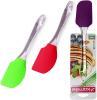 Лопатка Kamille силиконовая 24х6см (красный, салатовый, серый)