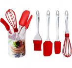 Набор кухонных силиконовых аксессуаров Kamille венчик, 2 лопатки и кисть