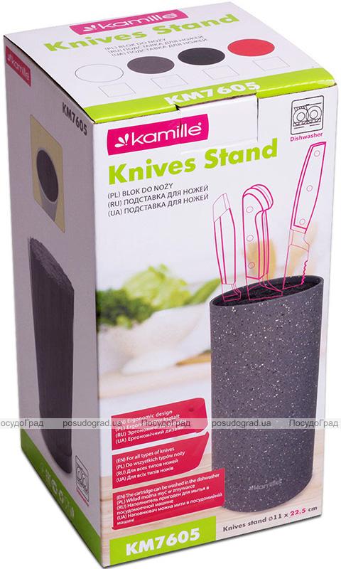 Колода для ножей Kamille Brash Stand 22см пластиковая круглая