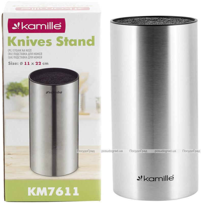 Колода-подставка для ножей Kamille Kumamoto Ø11х22см, нержавеющая сталь с наполнителем