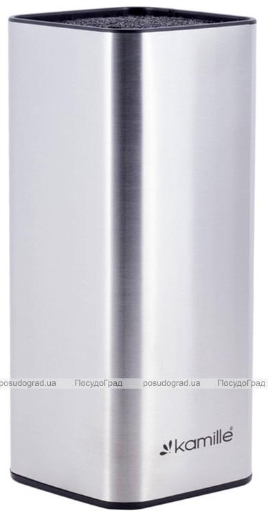 Колода-подставка для ножей Kamille Kumamoto 9.5x9.5x22см, нержавеющая сталь с наполнителем