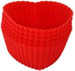 Набір 6 форм силіконових Kamille Heart для кексів і маффінів 7х7х3см
