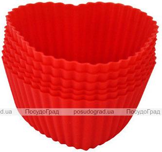 Набор 6 форм силиконовых Kamille Heart для кексов и маффинов 7х7х3см