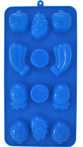 """Форма силиконовая Kamille """"Любимые фрукты"""" для льда и конфет 21.5х11х1.5см 12 ячеек"""