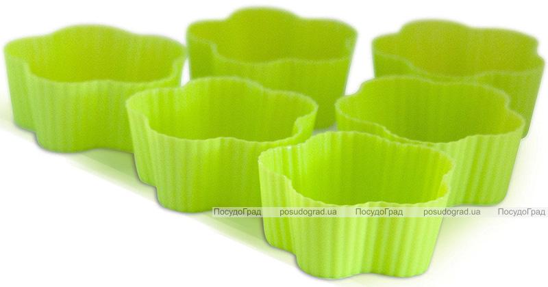 Набор 6 форм силиконовых Kamille Flower для кексов и маффинов 7х7х3см