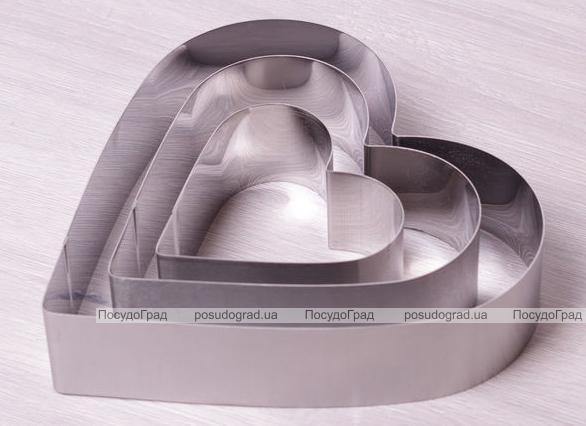 """Набор 3 формы Kamille """"Сердце"""" для выкладки гарнира 10х10см, 15х15см, 20х20см"""