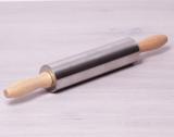 Скалка Kamille 38см из нержавеющей стали с деревянными ручками