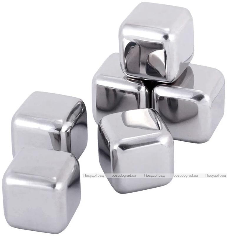 Камені для віскі Kamille 2.7х2.7см 6шт, охолоджувальні кубики з нержавіючої сталі