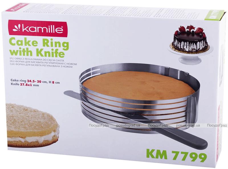 Форма Kamille для нарізки бісквіта Ø24.5-33см, регульована з ножем