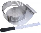 Форма Kamille для нарізки бісквіта Ø24.5-30см, регульована з ножем та підносом