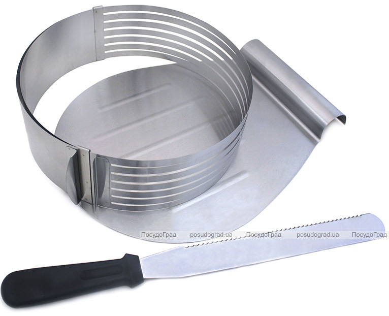 Форма Kamille для нарізки бісквіта Ø24.5-33см, регульована з ножем та підносом