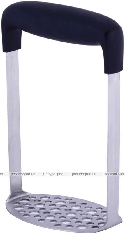 Прес для картоплі Kamille 18х12х7.2см з нержавіючої сталі з пластиковою ручкою