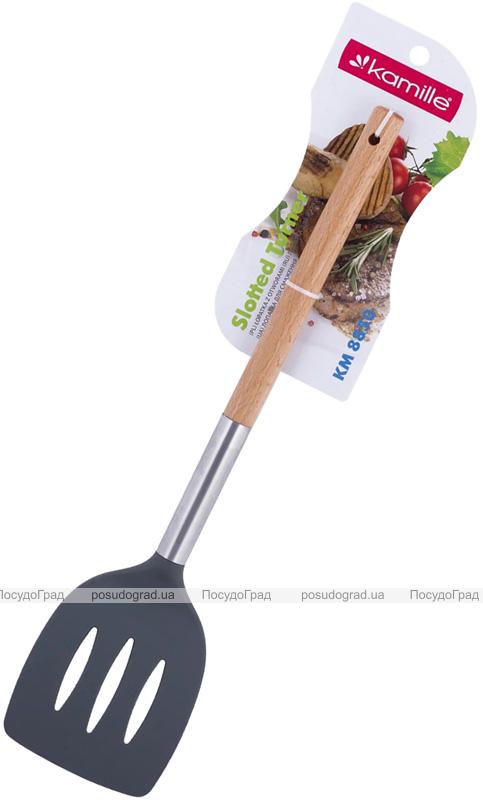 Лопатка Kamille Chantal 35см нейлоновая с прорезями, с деревянной ручкой