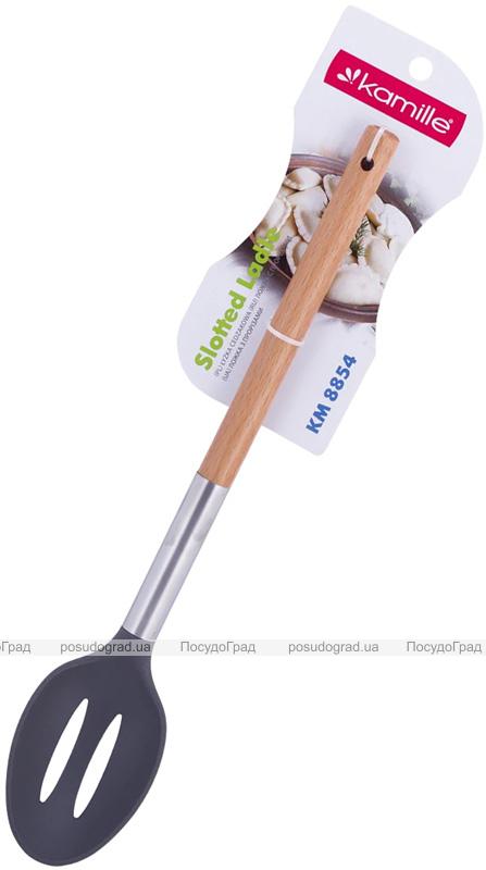 Ложка поварская Kamille Chantal 32см с прорезями нейлоновая с деревянной ручкой