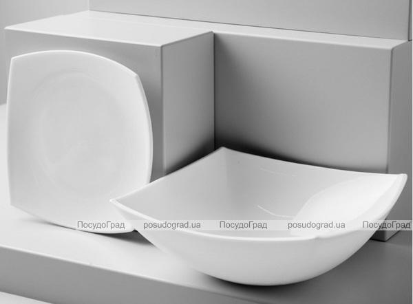 Набор 6 квадратных обеденных тарелок Luminarc Quadrato White 26см, стеклокерамика