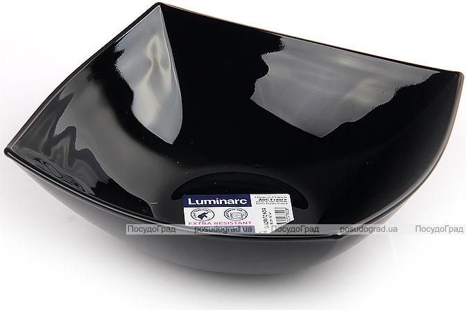 Набір 6 квадратних салатників Luminarc Quadrato Black 24см, склокераміка
