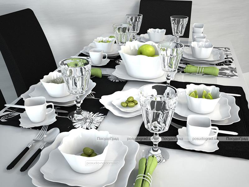 Набір 6 обідніх тарілок Luminarc Authentic White, квадратні 26см