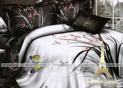 """Комплект постельного белья Love You Сатин 3D """"День и Ночь"""" Семейный"""