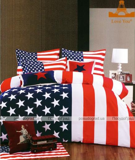 """Комплект постельного белья Love You Сатин 3D """"Америка"""" Евро"""