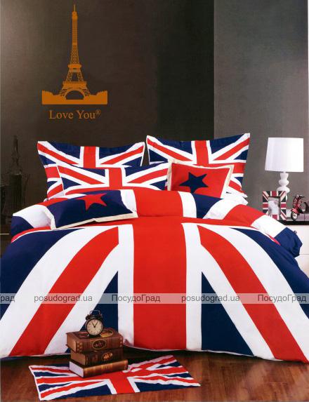 """Комплект постельного белья Love You Сатин 3D """"Англия"""" Евро"""