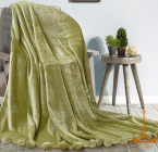 Плед меховый Love You с помпонами 200х220, зеленый