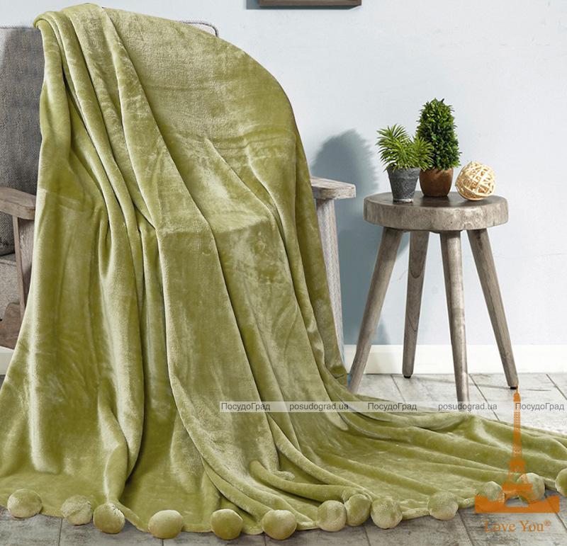 Плед меховый Love You с помпонами 150х200, зеленый