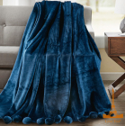 Плед меховый Love You с помпонами 150х200, синий